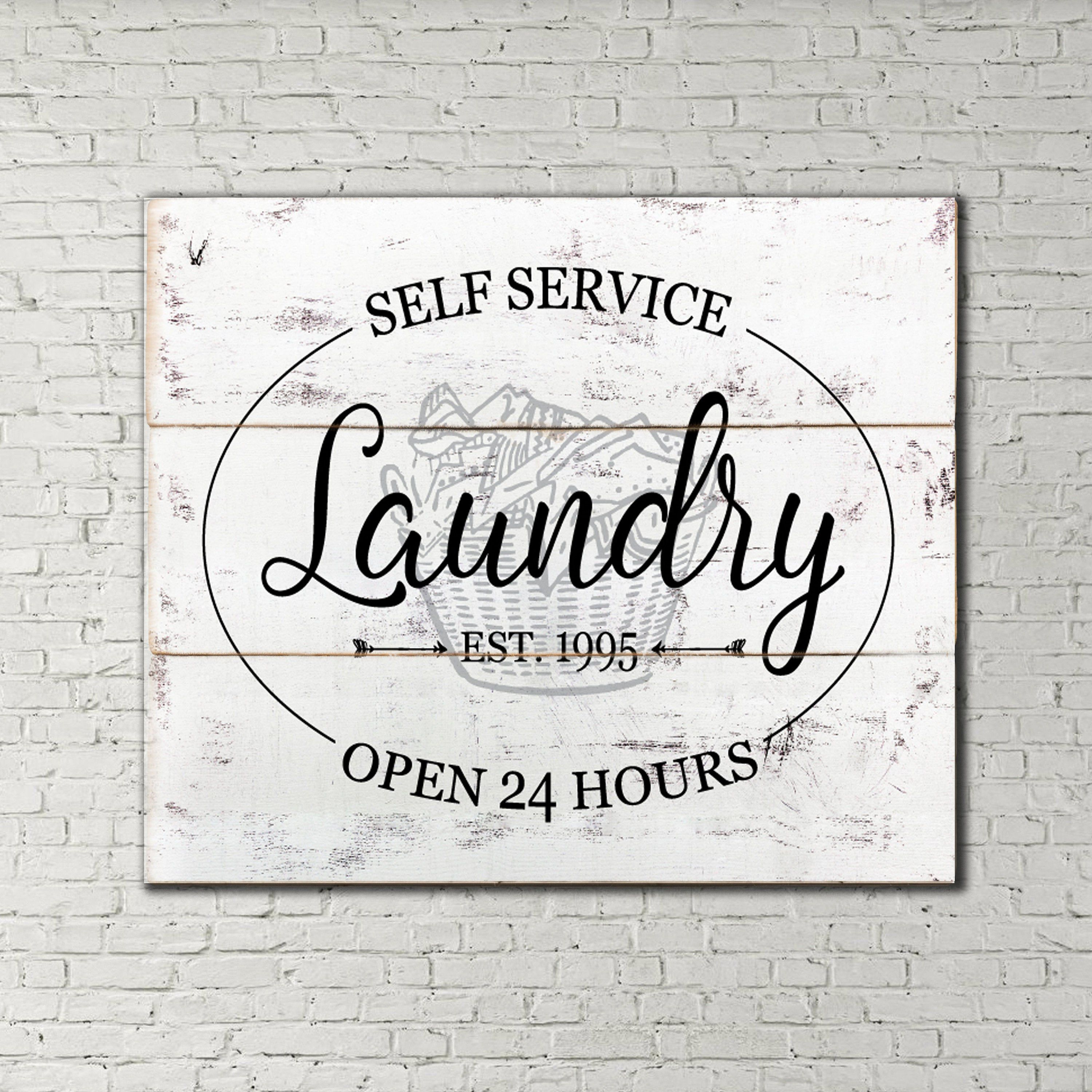 Laundry Self Service Open 24 hours Wood Sign Pallet Print