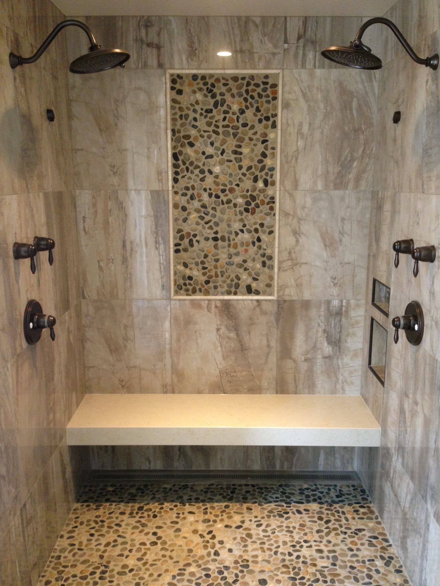 Barrier Free Shower Wall Tile 24 X Porcelain Pebble Mosaic Insert On Walls And Floor With Granite Bench