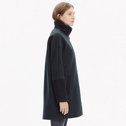 MANTEAU - CITY GRID - COLORBLOCK - LEATHER - STAND UP COLLAR - ZIPS ONTHE SLEEVES
