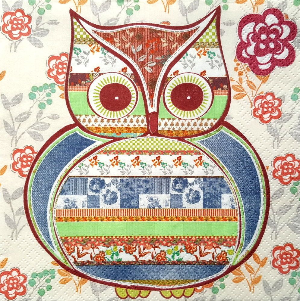 4 Lunch Paper Napkins for Decoupage Party Table Craft Vintage Winter Owl