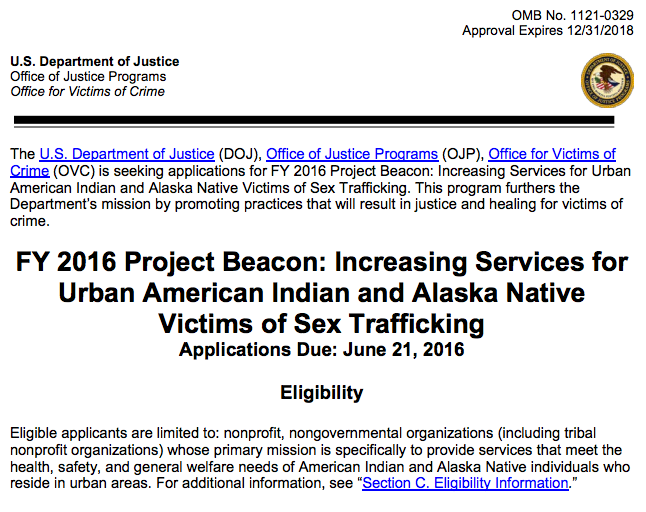 APPLY: Urban population centers to provide direct services to AI/AN sex trafficking victims http://1.usa.gov/1VVDLda