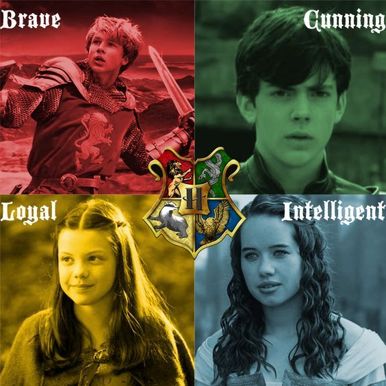 harry potter percy edward narnia - Google Search reverse Edmund and Susan and peter and Lucy houses