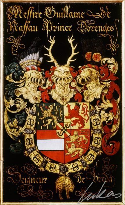 "(226) Guillaume de NASSAU, le Taciturne, prince d'Orange (1533-1584) -- ""Messire Guillame de Nassau, prince d'Orenges, seigneur de Breda"" -- Armorial plate from the Order of the Golden Fleece, 1559, Saint Bavo Cathedral, Gent"