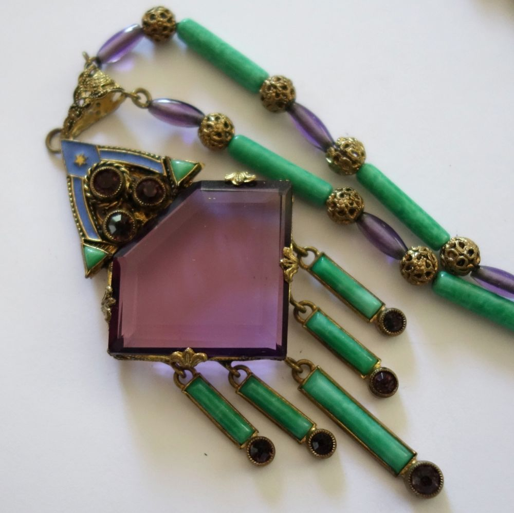 Art Deco Neiger Green Glass and Enamel Necklace and Bracelet Set Czech