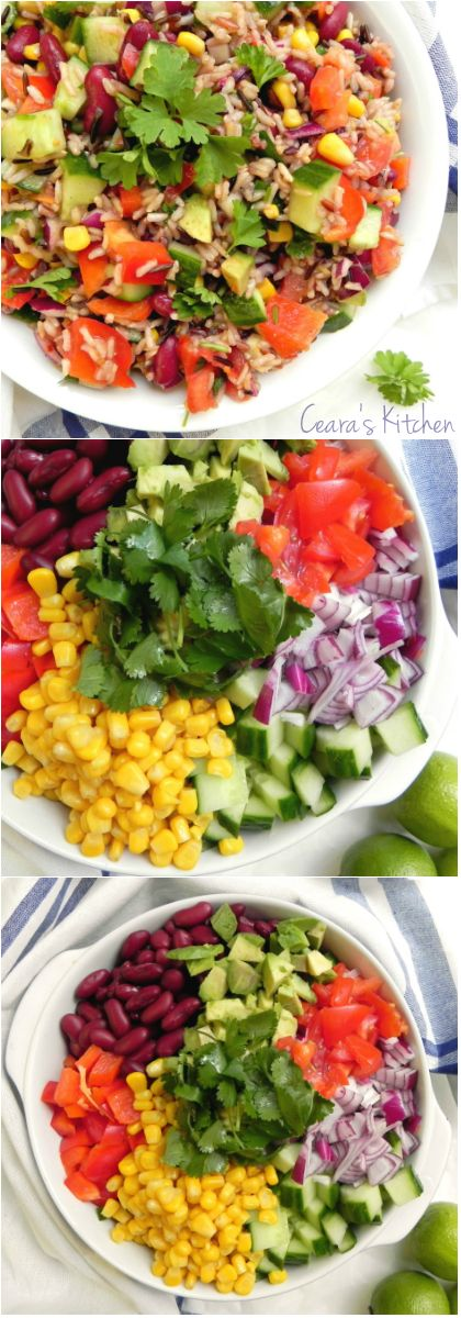 A delicious and nutritious Colorful Chopped Rice Salad bursting with Spring and Summer flavors! The perfect salad to serve for lunch, as a side or bring along to a BBQ. #SUMMER #SALAD #GLUTENFREE #HEALTHY #OILFREE #BBQ #VEGAN