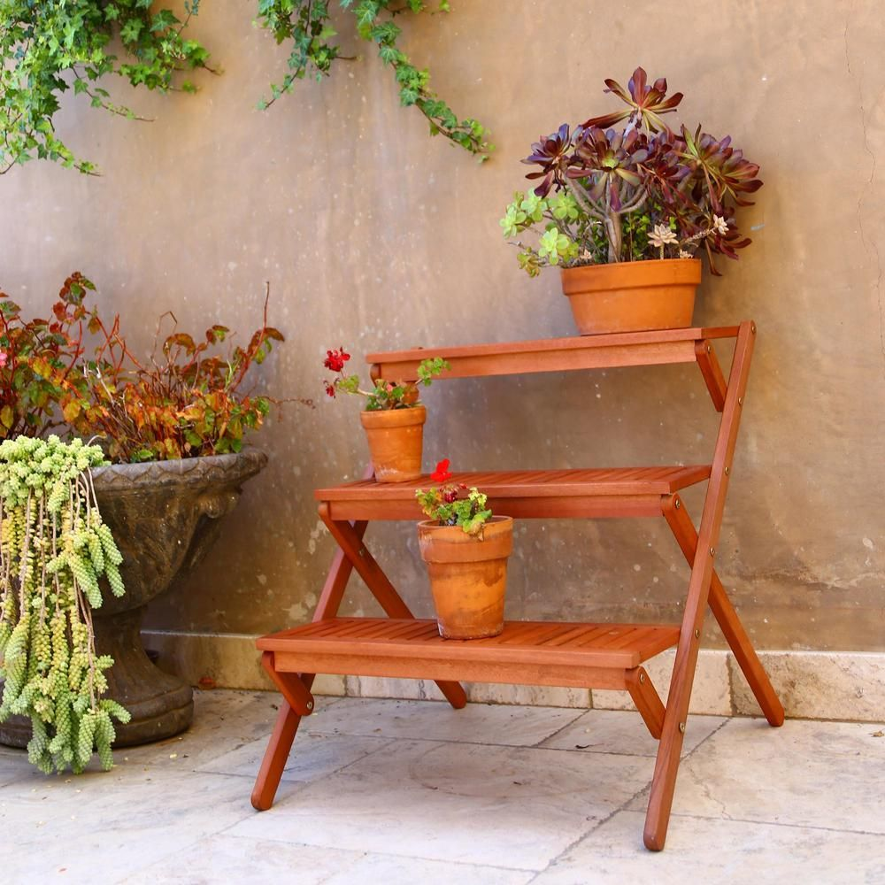 3 Tiered Outdoor Wood Plant Stand | Plants, Woods and Garden ideas