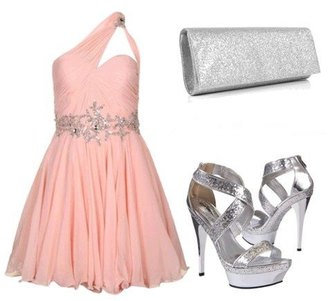 pink dress and silver heels for a party