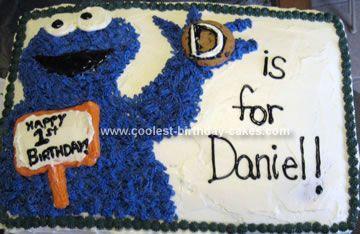 Cool Homemade Cookie Monster Birthday Half Sheet Cake Kids