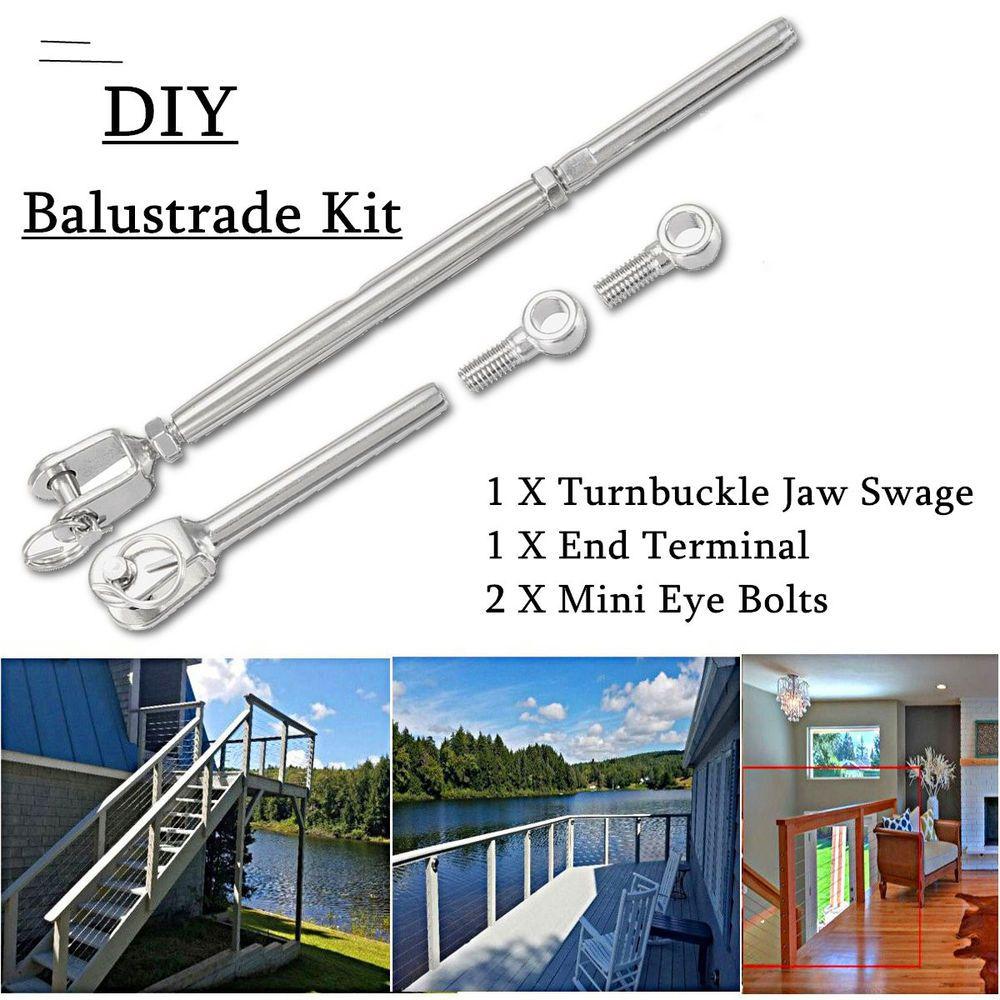 Wire Rope DIY Balustrade Set Jaw/Swage Fork Eye Bolt Terminal ...
