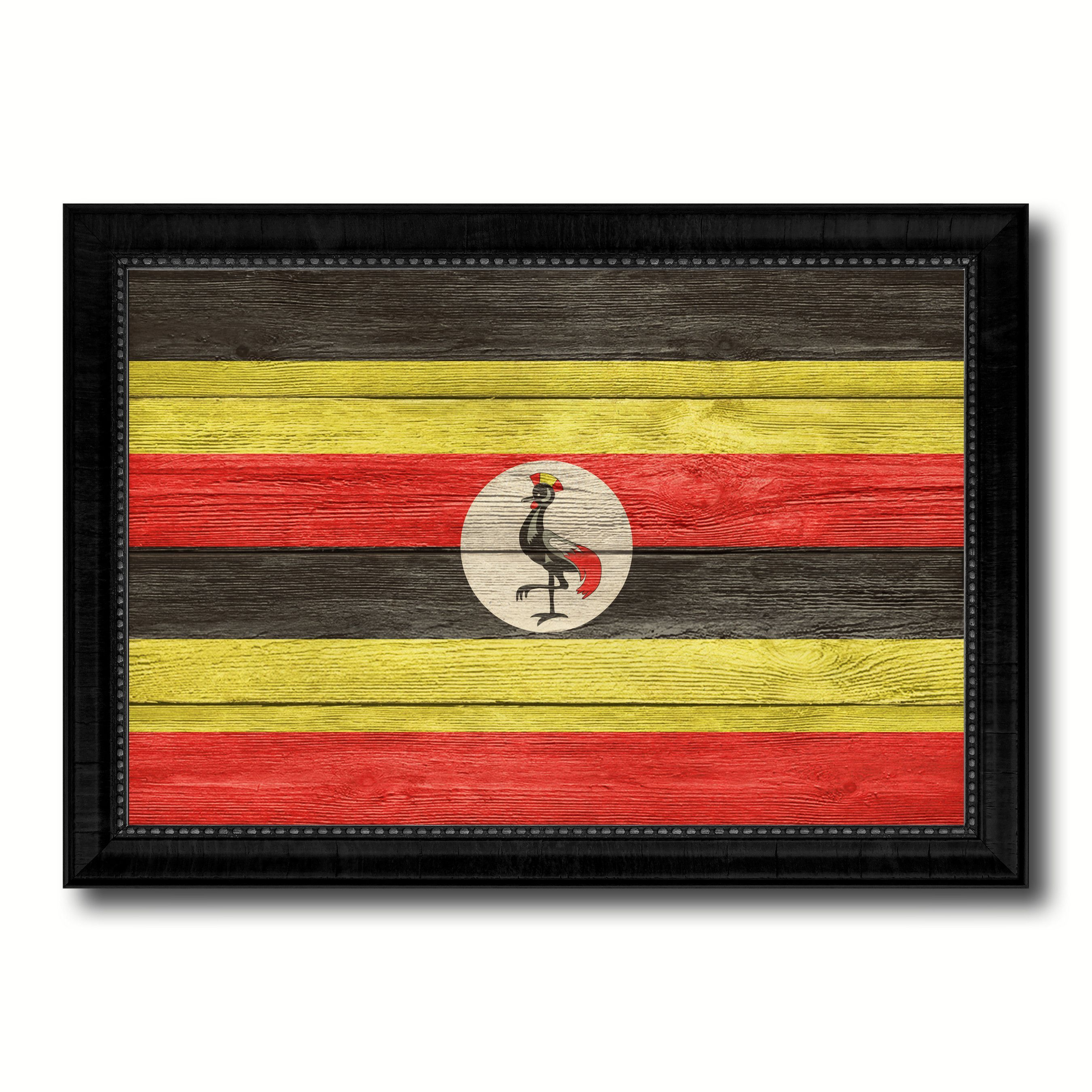 Uganda Country Flag Texture Canvas Print with Black Picture Frame ...