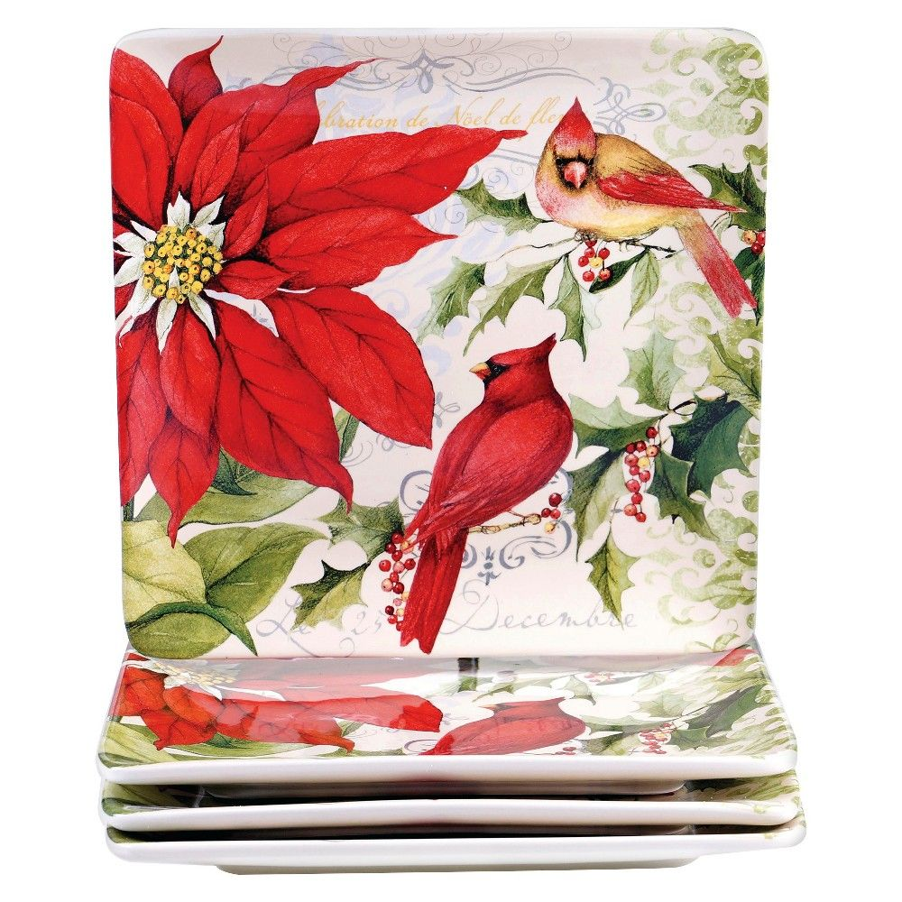 Certified international parisian fruit canister by susan winget set - Certified International Botanical Christmas Assorted Dinner Plates Set Of 4 10 25