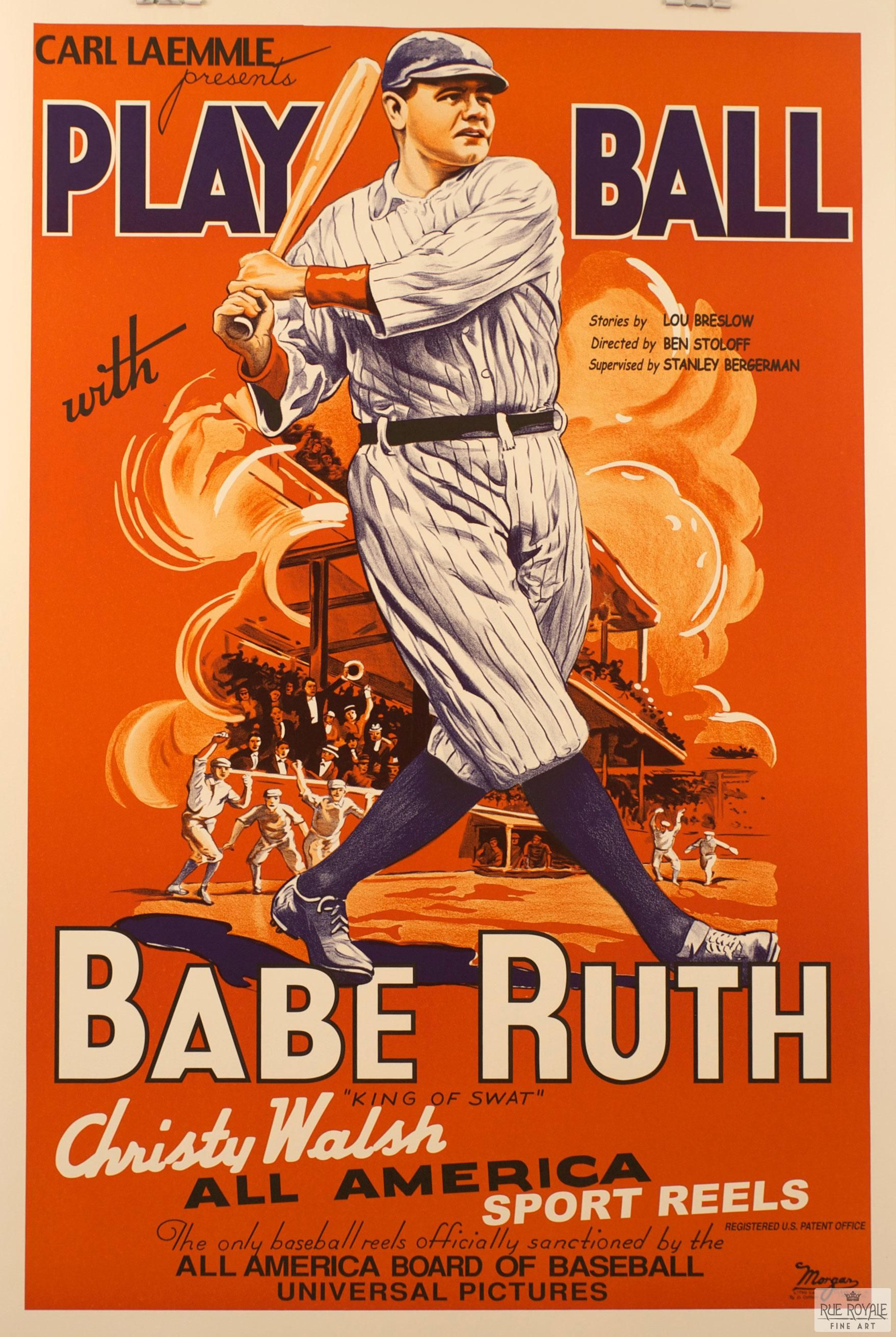 babe ruth play ball vintage movie poster lithograph for babe ruth play ball vintage movie poster lithograph for 395 lithograph