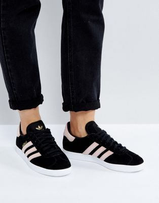 adidas Originals Black Gazelle Sneakers With Velvet Stripes