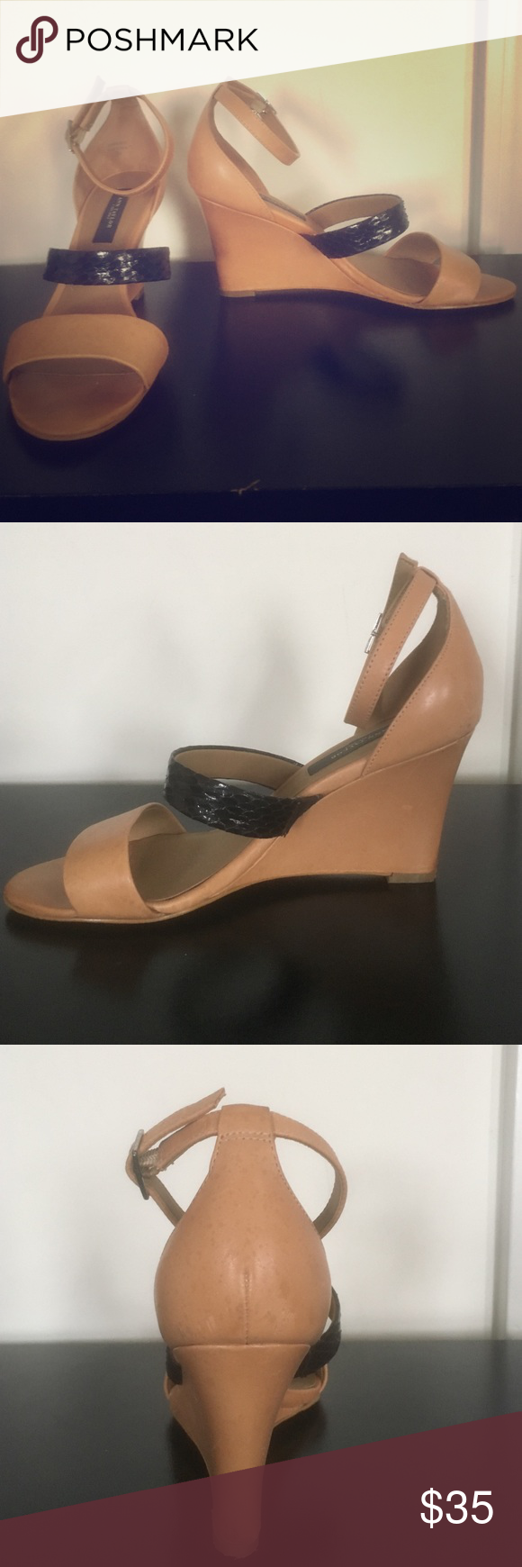 Ann Taylor wedges Chic Ann Taylor wedges! Tan shoe with a bold black strap in the middle. Shoes have been worn, a few scratches on the back of shoes, not too noticeable. In good condition. Fabulous shoes for work or for going out at night! Ann Taylor Shoes Wedges