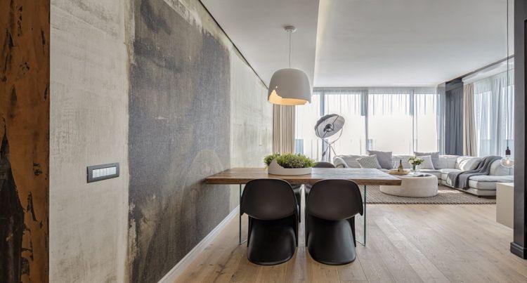 Graue Einrichtung Modernes Wohnzimmer Holzboden Hell Fototapete  #innendesign #design #interior