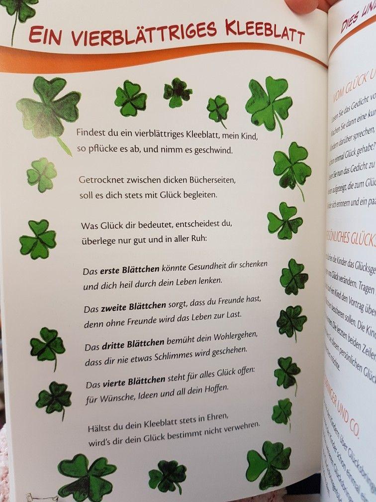 Kleeblatt Glück Kita Kindergarten Erzieher Reim