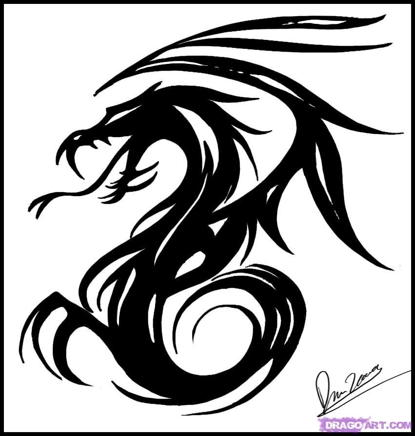 How To Draw Tribal Dragon Art Step By Step Tribal Art Pop Culture Free Online Drawing Tutorial Added By Dawn Ma Dragon Art Tribal Drawings Dragon Drawing