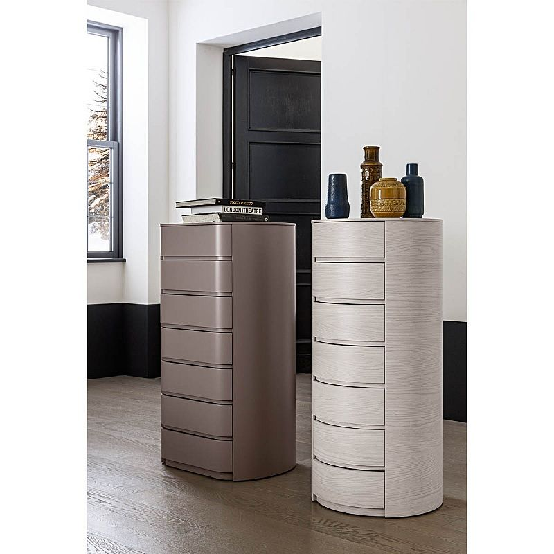 Theo Round Wooden Bedside Cabinet By Mobilstella With Versions Of 2 Or 3 Drawers