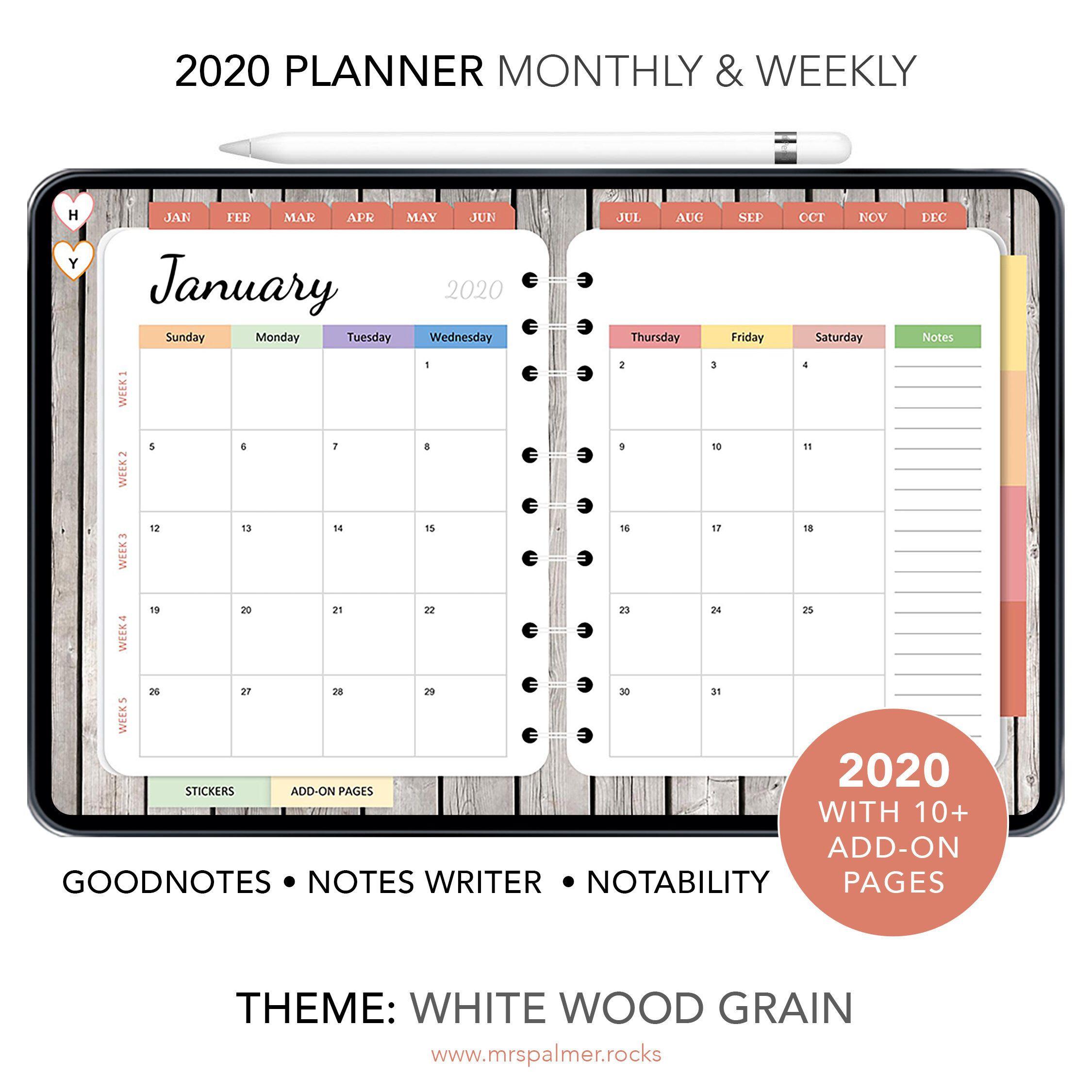 2020 Goodnotes Digital Planner Wood Grain Theme, Goodnote