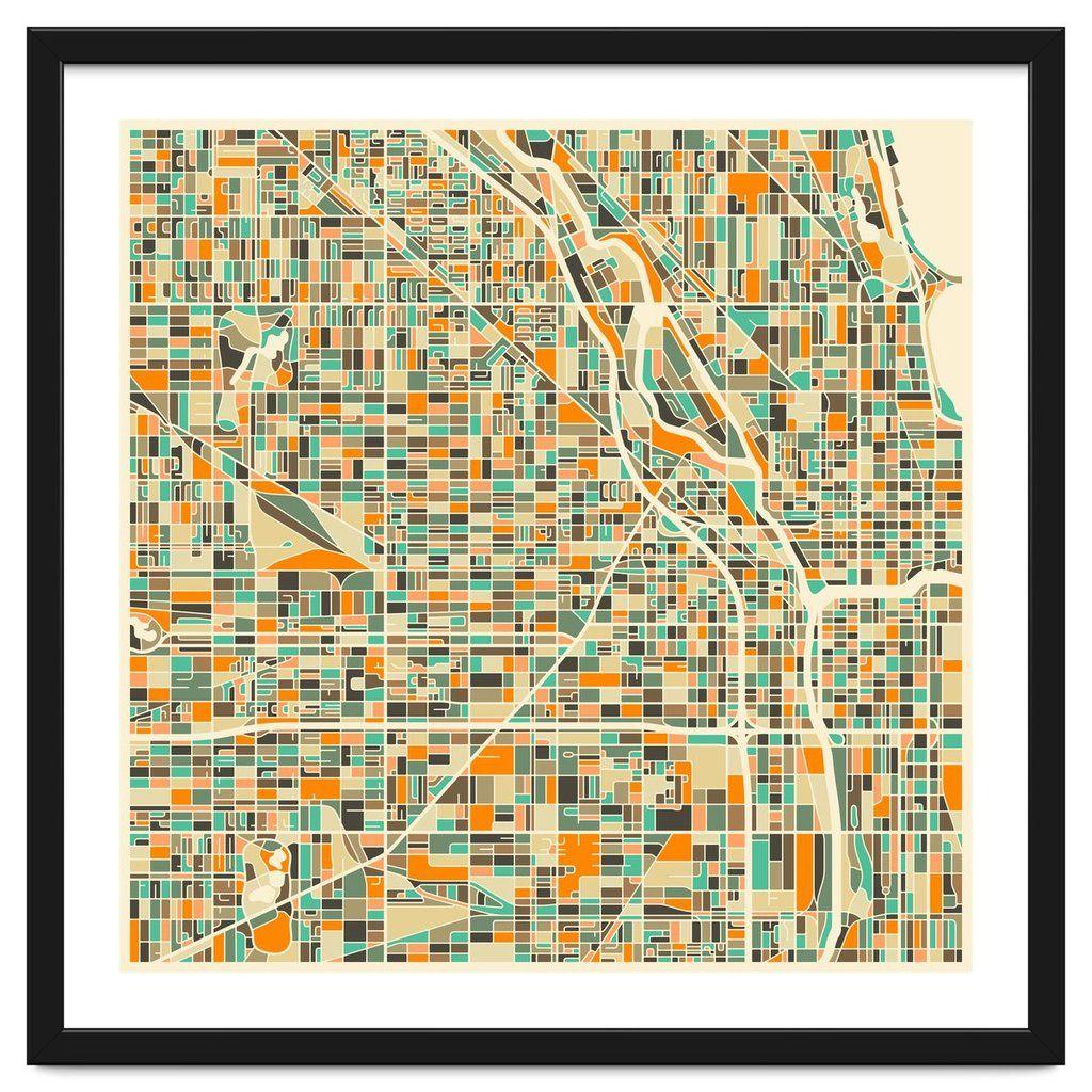 Chicago Map Canvas.Chicago Map Framed Art In 2019 Framed Modern Art Pinterest Map