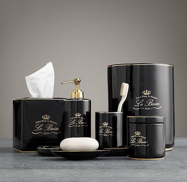 Le Bain French Porcelain Bath Accessories Black