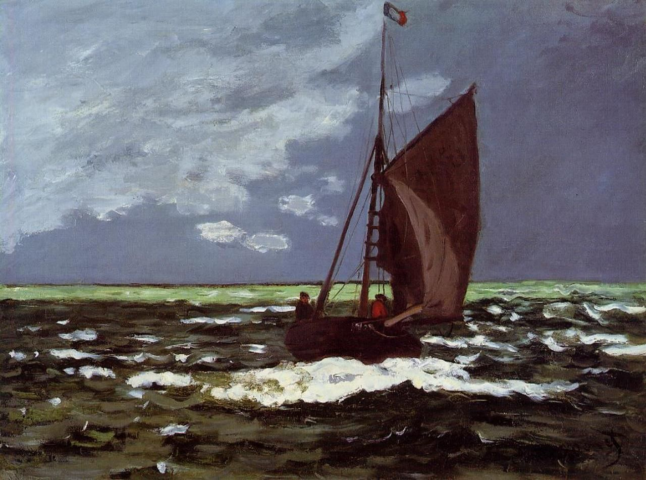 Stormy Seascape - Claude Monet - WikiArt.org   French paintings, Seascape  artwork, Claude monet
