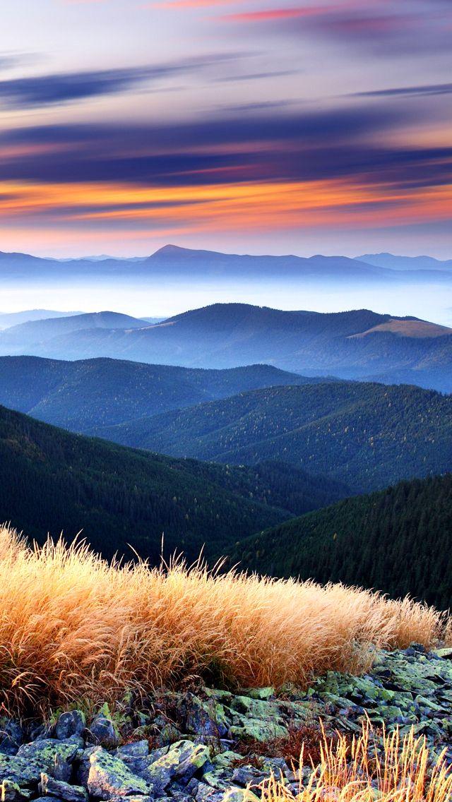 Beautiful Mountains Sunset Landscape IPhone 5 Wallpaper