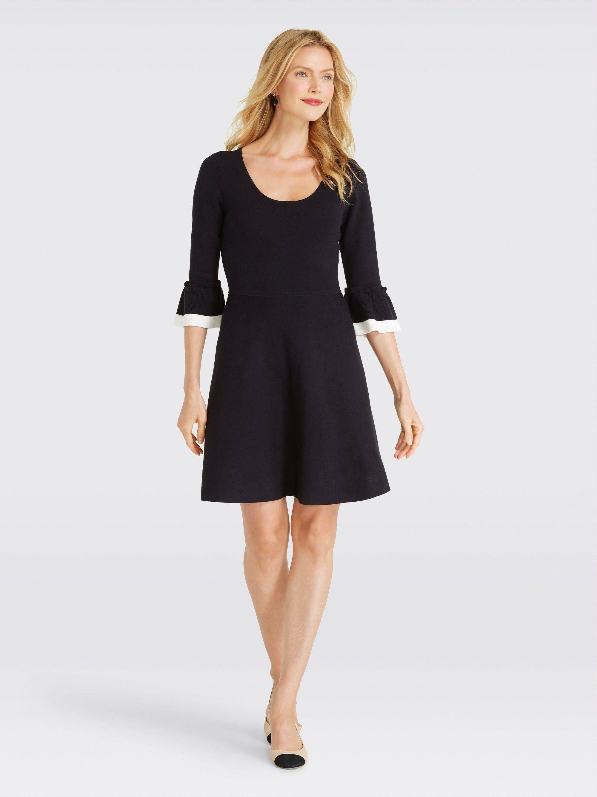 d78dcc94fc1 Flutter Sleeve Sweater Dress in black-0 by Draper James