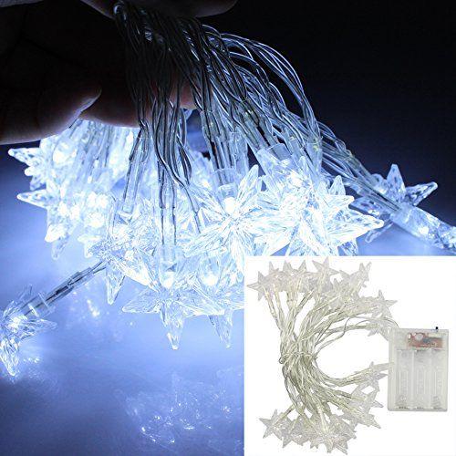 10ft Christmas Light 30leds Cool White Led Star Fairy String
