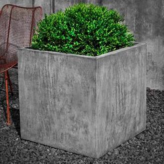 Tall Square Stone Planter Grey Patina Concrete Planter