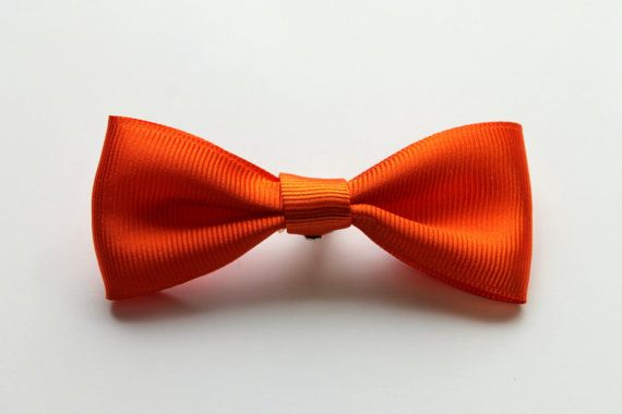 Baby Bow Tie in Orange - Clip On Ribbon Bow Tie for Infant or Toddler Boys