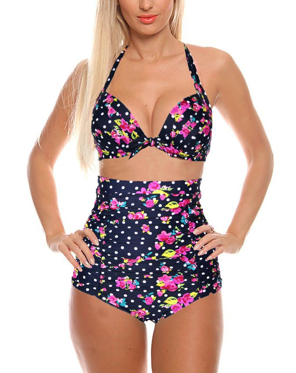 8a34f67ef5 Cocoship Flora Polka Vintage High Waisted Bikini Swimsuits Swimwear(FBA) at  Amazon Women s Clothing store