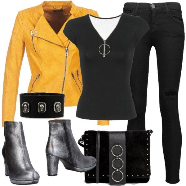 outfit rock jeans neri e giacca di pelle