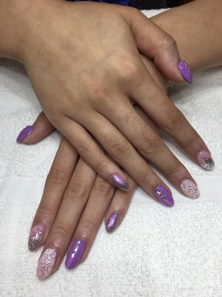 Purple Nails Purple Nail Art Shiny Nails Glitter Nails Cute Nail