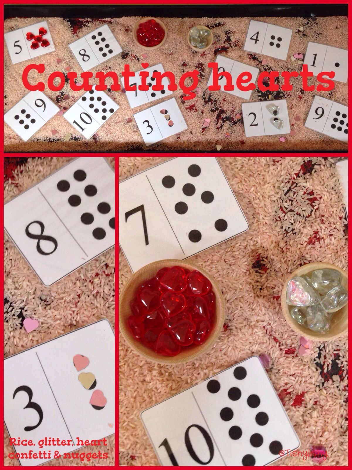 Counting Hearts In The Sensory Tray
