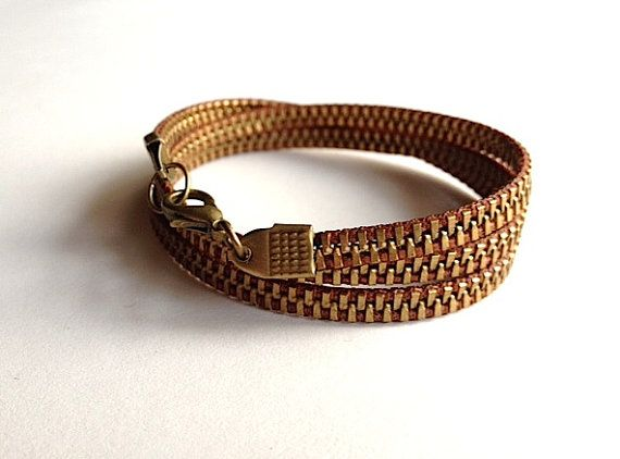 Delicate Brass and Chocolate Zipper Wrap by ArtologieDesigns, $30.00