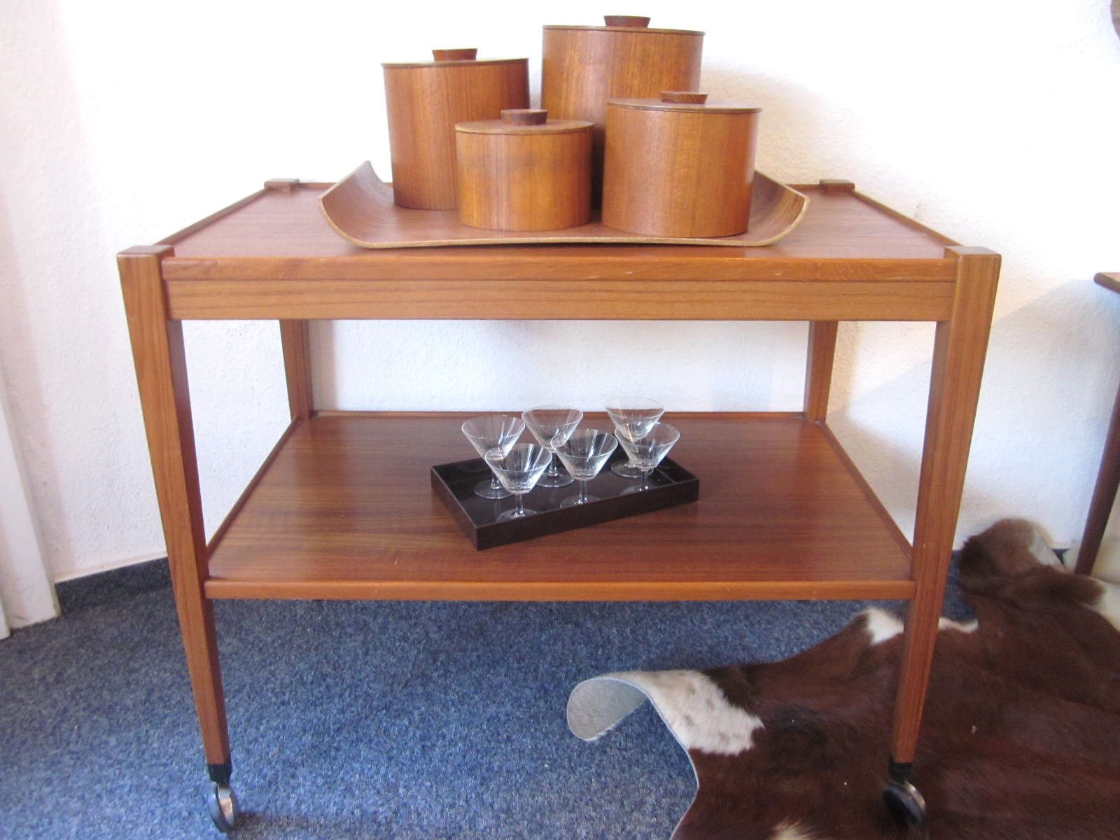 Lidded boxes (Denmark) on serving cart (Sweden) - both 50s.