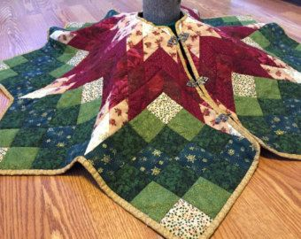 Poinsettia Star Tree Skirt Pattern Traditional Tree Skirt ... : quilted tree skirt patterns - Adamdwight.com