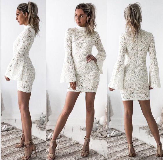 Elegant High Collar Lace Short Homecoming Dress,Charming Long Sleeve Appliques Party Dress 588 - White long sleeve dress, Long sleeve mini dress, Lace bodycon dress, Womens dresses, Mini dress, Long sleeve dress - Welcome to our Store thanks for your interested in our gowns  We could make the dresses according to the pictures came from you,we welcome retail and wholesale  Click to see more styles on our store Contact us happybridal2017@gmail com A Condition brand new ,column ,mermaid or Aline style, Lengthknee length,Tea Length,or floor length are all available Fabric imported satin,silk,special taffeta,stretch satin,organza,chiffon,lace,tulle are available Embellishment beading,embroidery ,appliques,handmade flowers,handmade ruffles are available Colorcolor free ,all the colors on our color chart are available SizeStandard size or custom size   ClosureZipper back or Lace up back  LiningBoned and Fully Lined   PackingDelicate box package or plastic bags  It usually take 725 working days to finish the dress,the shipping time is 315 days   B  Color All color are available from our color chart   Since computer screens have chromatic aberration, especially between CRT screen and LCD screen, we can not guarantee that the color of our products will be exactly the same with the photographs you saw  If you need any other color or special requirement, please contact me by email and I will take care of your request personally in two days  C Size unit ( centimeters or inches)we can make the dress with standard size and custom order,if you need custom sizes,please measure below measurements 1 Bust       inches 2 Waist      inches 3 Hips         inches 4 Shoulder to Shoulder from back       inches 5 Shoulder to nipple       inches 6 Shoulder to floor through nipple no shoes         inches 7 Full height from top head to floor no shoes       inches 8 The dress shoes height       inches 9 Arm length             inches(this size is for sleeve dress) 10 Armhole             inches(end