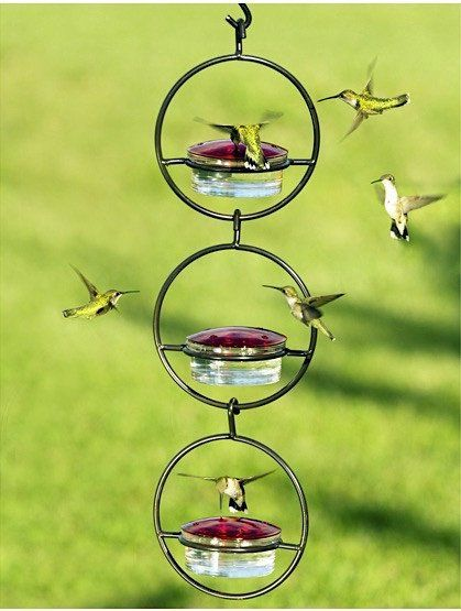 Triple Orb Glass Hummingbird Feeder Has Room For All With 12 Feeding Ports