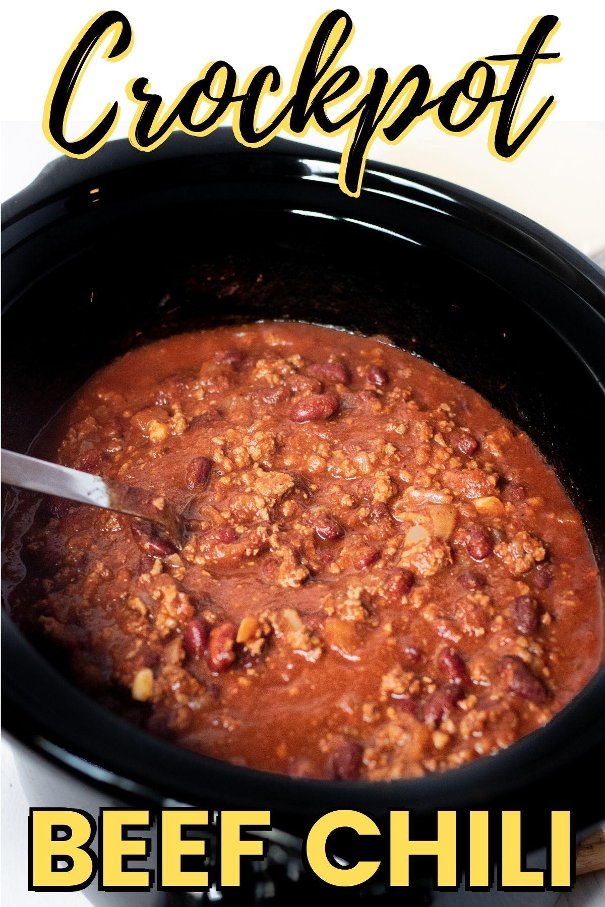 Crockpot Beef Chili In 2020 Easy Chili Recipe Crockpot Beef Chili Crockpot Easy Vegetarian Chili Recipe