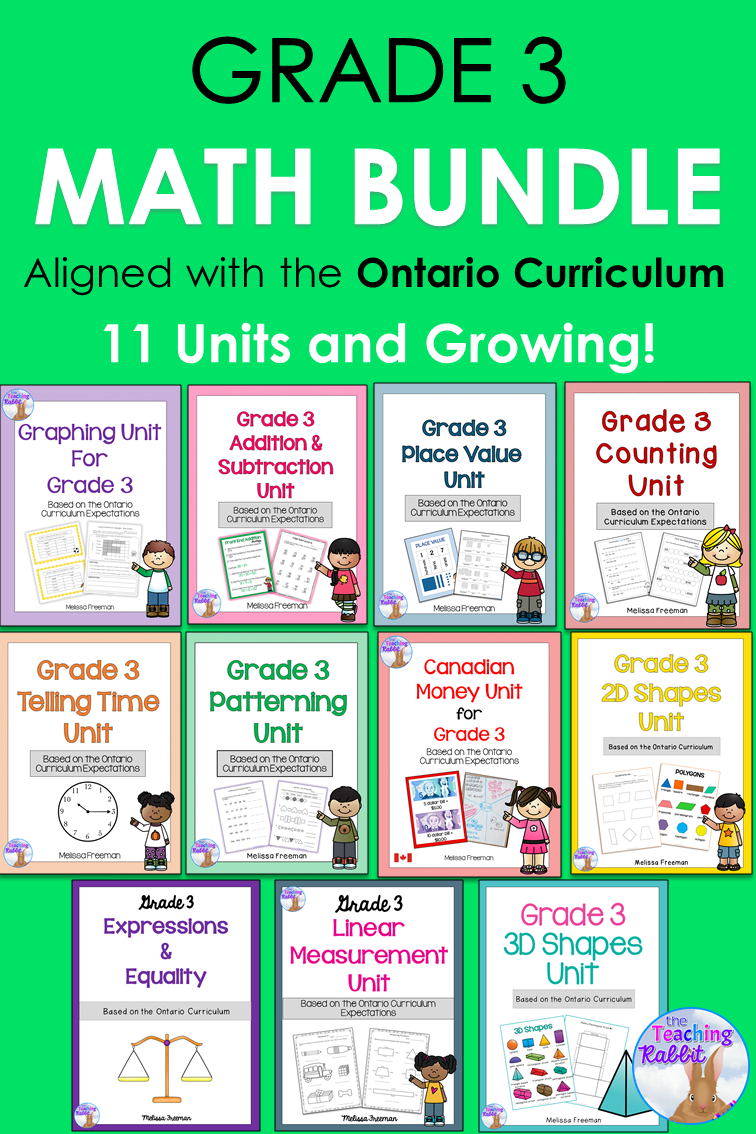 Grade 3 Math Units FULL YEAR BUNDLE (Based on the Ontario Curriculum