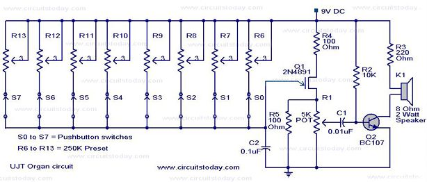 A UJT Organ circuit with circuit diagram is explained in detail. A ...