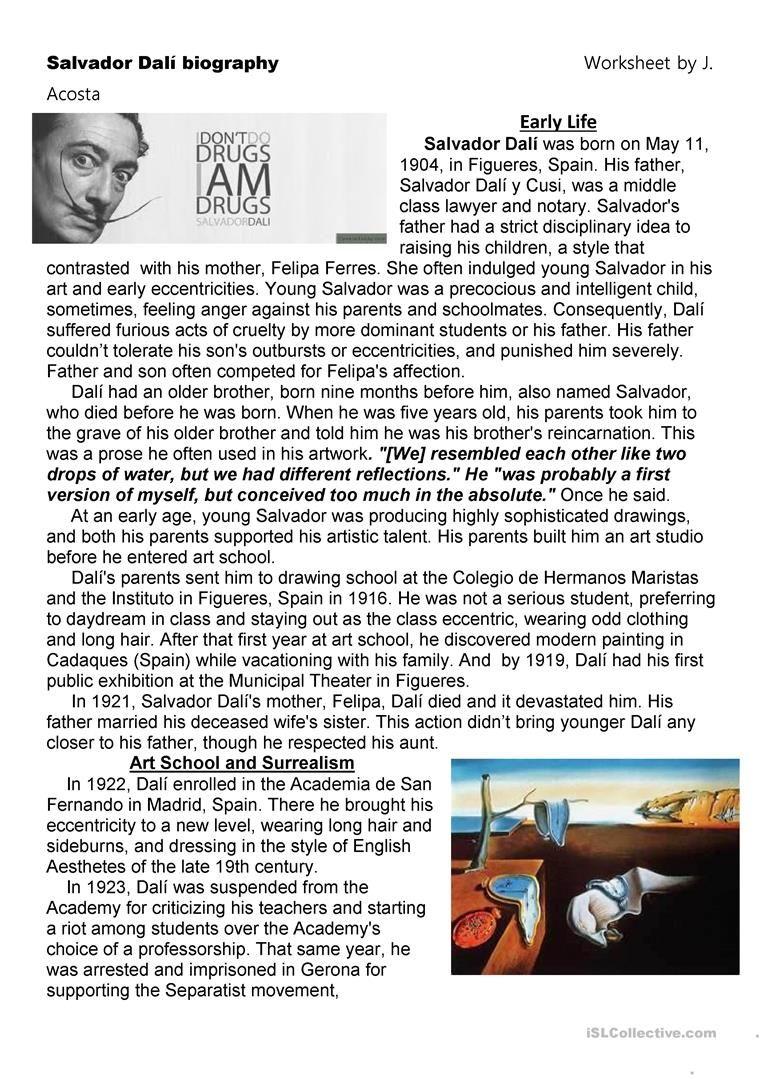 Salvador Dali S Biography Worksheet Free Esl Printable Worksheets Made By Teachers Salvador Dali Artist Biography Worksheet Dali [ 1079 x 763 Pixel ]
