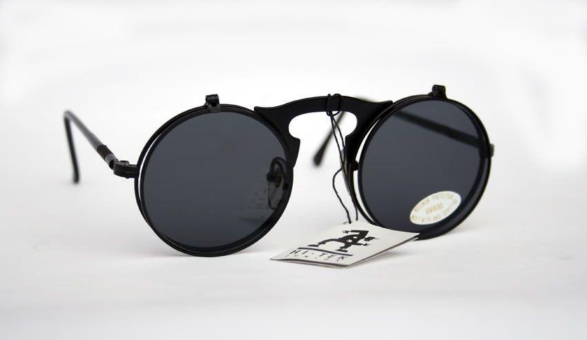 Steampunk Goth Goggles Glasses Retro Flip Up Round Sunglasses Vintage Black UG
