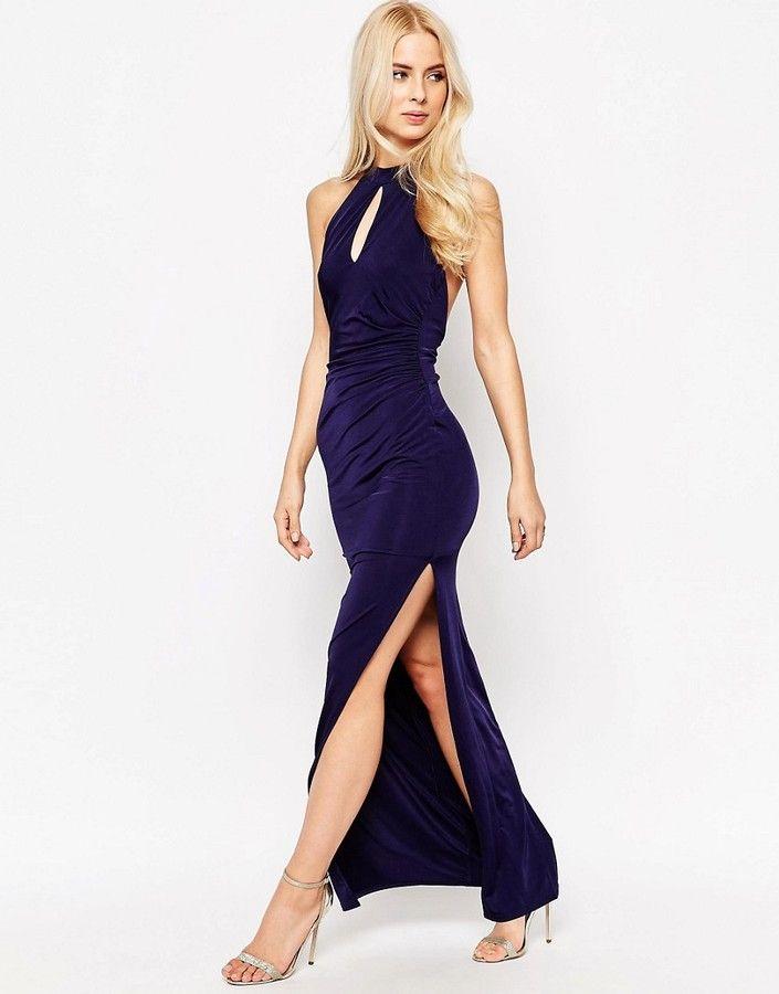 Sistaglam Zena Slinky Halter Maxi Dress With Keyhole   Products ...