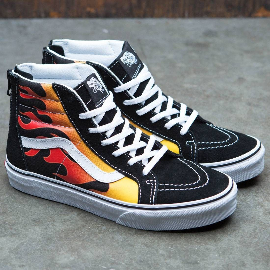 Vans Big Kids SK8-Hi Zip - Flame (black   red) in 2019  2ab8b7058