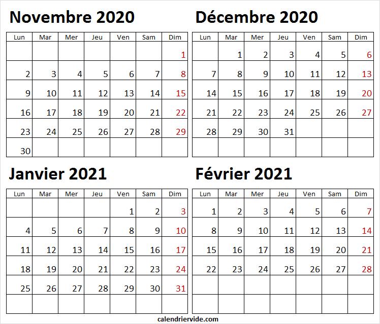 Calendrier Novembre 2020 a Février 2021 Excel   Calendrier 2020
