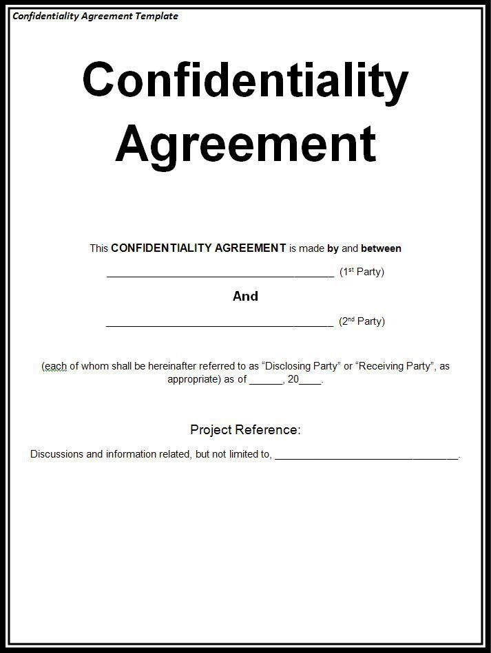 Confidentiality Agreement Template  Wordstemplates
