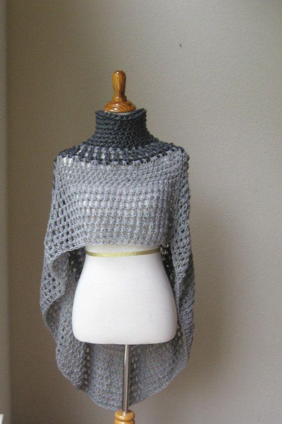 Grey Bohemian Poncho Hippie, Boho Chic Yoga Poncho Crochet Cape ...